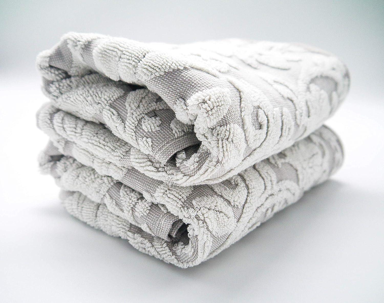 Lexs Linens Pack de 2 toallas de invitados Jacquard Floral Aqua
