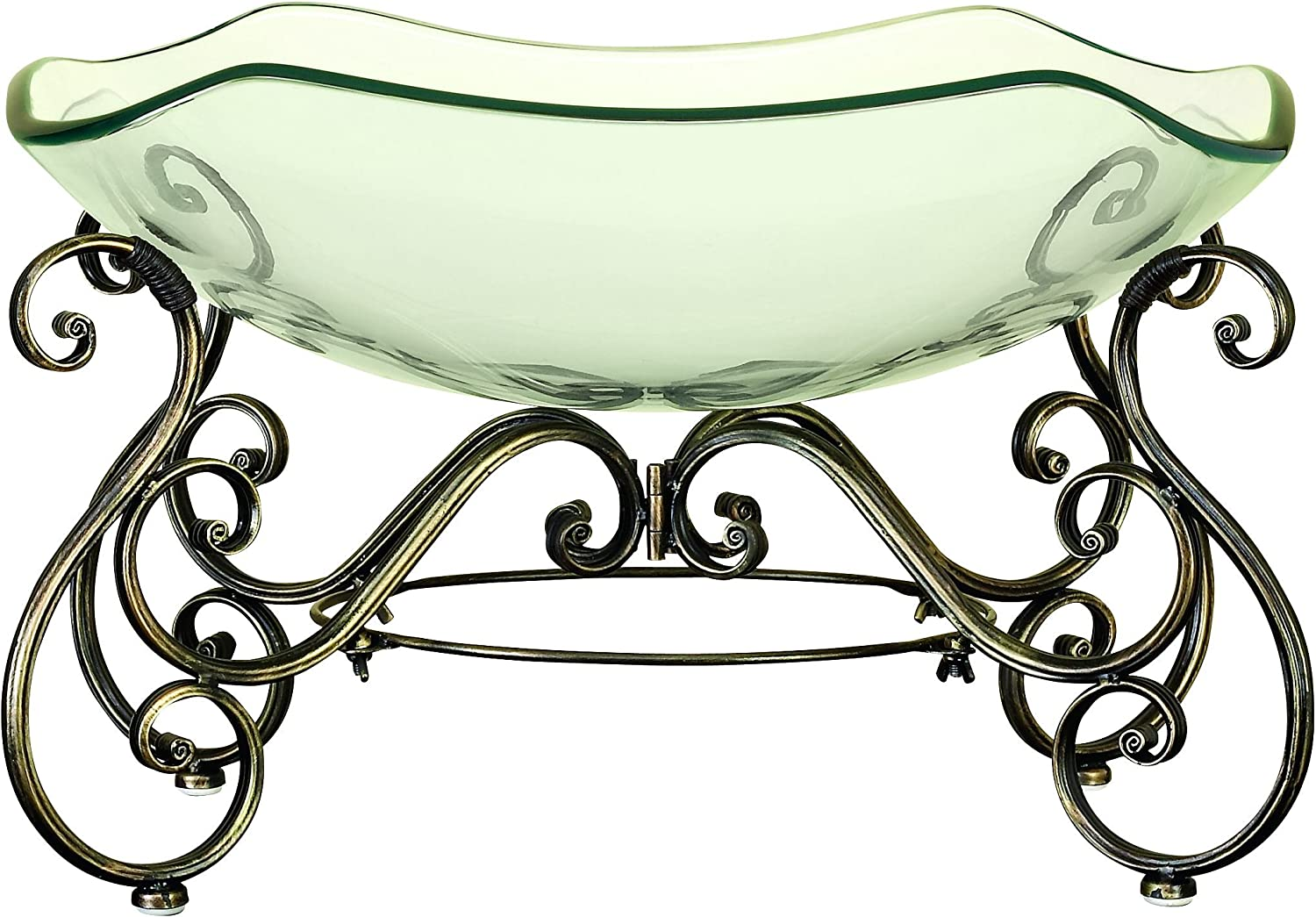 Deco 79 81684 Glass Bowl Metal Stand with Great Decor Appeal