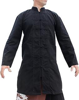 Svenine Long Chinese Jacket Handmade Kung Fu Tai Chi Shirt with Waist Pockets