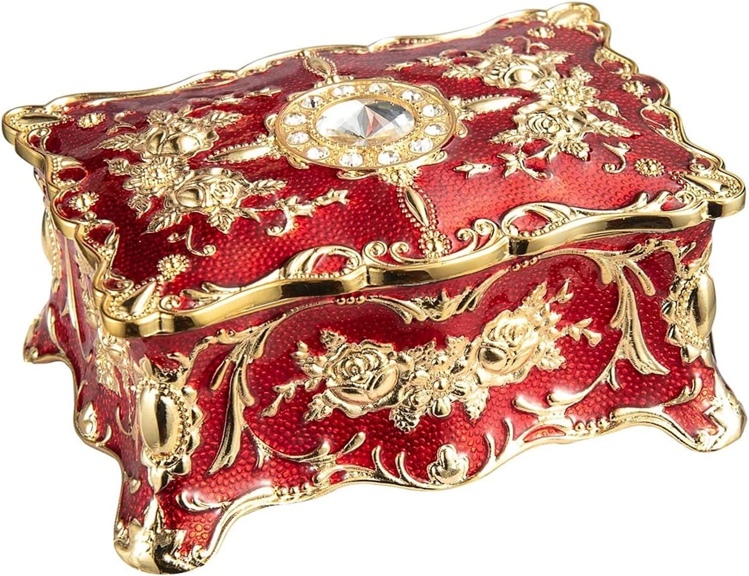 HAOKTSB Caja de almacenaje Rectángulo Vintage Rojo Tiny Tiny Tinket Caja de joyería Adornada Antigua Acabado Grabado Organizador Caja Caja de Almacenamiento de Joyas