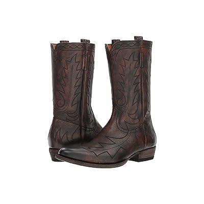 Frye Austin Feather Stitch Pull-On (Cognac Full Grain Brush-off) Cowboy Boots