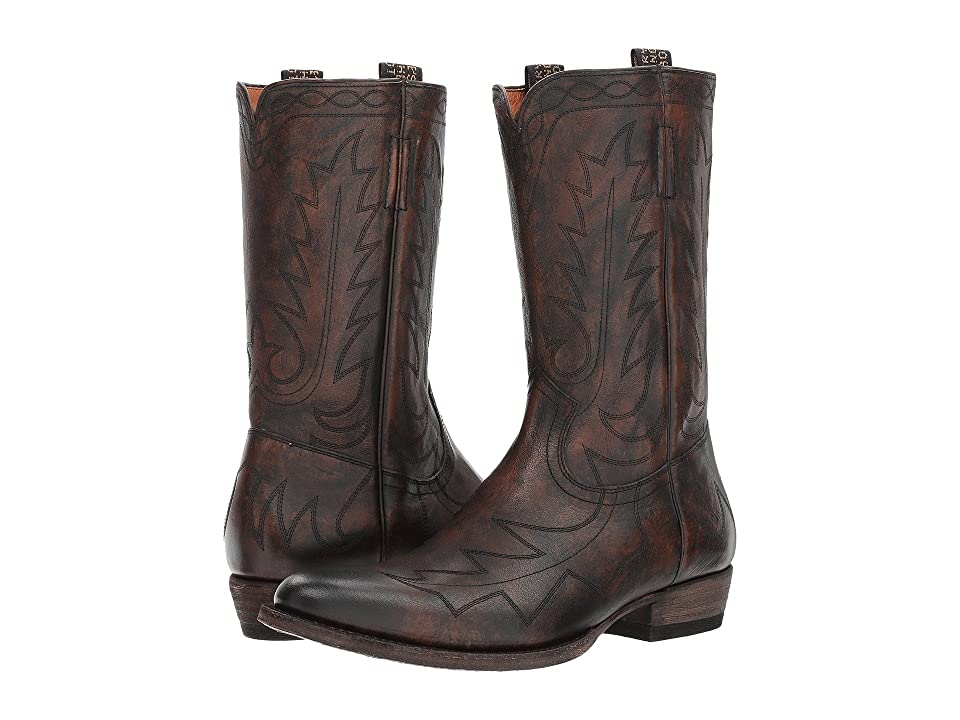 Frye Austin Feather Stitch Pull-On (Cognac Full Grain Brush-off) Cowboy Boots