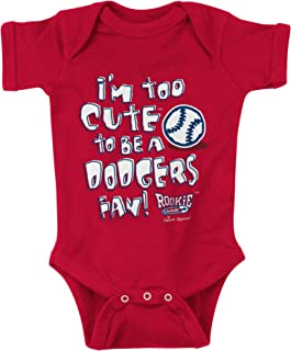 Rookie Wear By Smack Apparel Los Angeles Baseball Fans. Too Cute to be a Dodgers Fan Red Onesie or Toddler Tee (NB-4T)