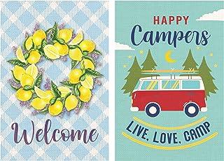Lovely Flag Burlap Happy Camper Garden Flag Set of 2 - Summer Lemon Evergreen Lavender Wreath Welcome Flag - Double Sided ...