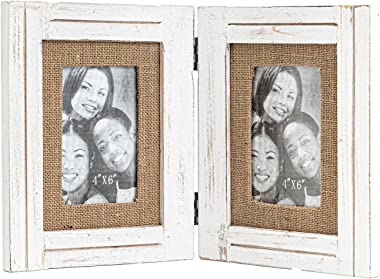 RiteSune Rustic Farmhouse Wood Picture Frames 4x6, Folding Photo Frames Tabletop with Real Glass (White)
