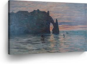 The Cliff Etretat Sunset by Claude Monet Canvas Wall Art Canvas Print Famous Art Painting Reproduction Fine Art Oil Paintings Modern Art Home Decor Ready to Hang-%100 Made in The USA- 30x40