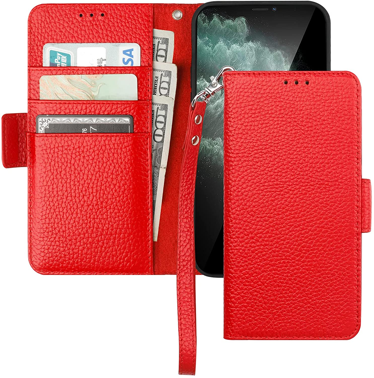 Bocasal Wallet Case for iPhone 11, Genuine Leather Support Wireless Charging RFID Blocking Flip Case Card Slots Holder, Kickstand Book Folding Folio Cover with Wrist Strap 6.1 Inch (Red)