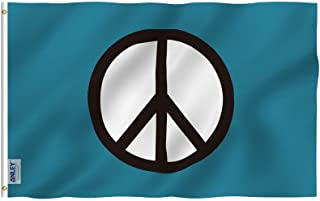 Anley Fly Breeze 3x5 Foot Peace Symbol Flag - Vivid Color and UV Fade Resistant - Canvas Header and Double Stitched - World Peace Flags Polyester with Brass Grommets 3 X 5 Ft