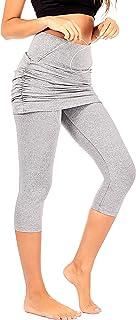 DEAR SPARKLE Skirted Capri Skirt Leggings for Women   Yoga Tennis Golf Gathered Skapri w Pockets + Plus Size (S20)