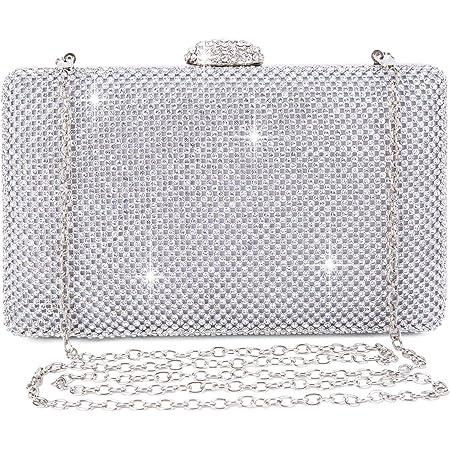 BAIGIO Abendtasche Damen Strass Clutch Tasche Diamant Glitzernd Umhängetasche für Hochzeit Party (Silber)