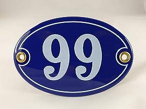 """Emaille huisnummer bord nr. 99, ovaal, blauw-wit met schroeven en pluggen """"Handgemaakt"""""""