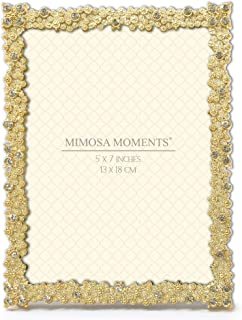 MIMOSA MOMENTS Metal Picture Frame with Rhinestones Decor, Wedding Decor (Gold, 5x7)