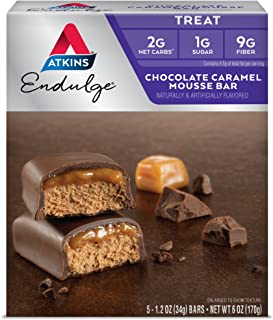 Atkins Endulge Treat, Chocolate Caramel Mousse Bar, Keto Friendly, 5 Count