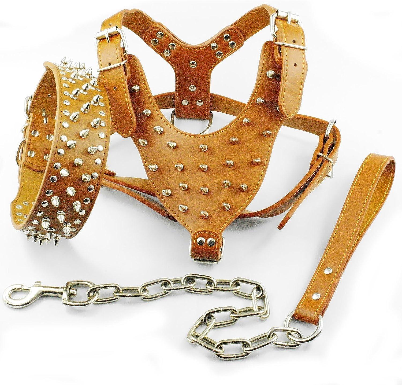Dogs Kingdom Spiked Studded Leather Dog Pet Collar Harness Leash 3pcs Set Walking Pitbull Boxer Brown L