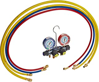Yellow Jacket 49987 Titan 4-Valve Test and Charging Manifold Degrees F, psi Scale, R-22/134A/404A Refrigerant, Red/Blue Gauges