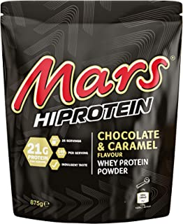 Mars Hi Protein Chocolate and Caramel Flavour Whey Protein Shake Powder 875g Pouch, Contains 25 Servings, 21g Protein Per ...