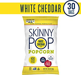 SKINNYPOP White Cheddar Popped Popcorn, 100 Calorie Bags, Individual Bags, Gluten Free Popcorn, Non-GMO, No Artificial Ingredients, A Delicious Source of Fiber, 0.65 Ounce (Pack of 30)