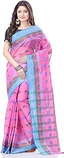 dB DESH BIDESH Women's Tant Cotton Saree Without Blouse Piece (DB261220LOTUS5_Pink)