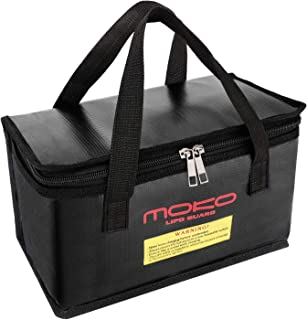 MoKo Fireproof Explosionproof Battery Safe Bag, Storage Guard Safe Sleeve Bag for Lipo Battery Storage and Charging, Zipper Closure for Maximum Protection - Black