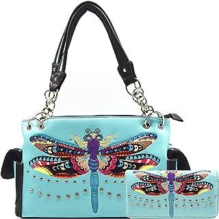 Bunte Libelle Westernfrühling versteckte Tragetasche Landhaushandtasche Damen Schultertasche Brieftasche Set