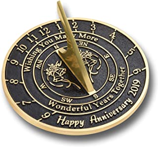 The Metal Foundry 'Wishing You' Wedding Anniversary 2019 Gift. This Unique Sundial Gift Idea is A Great Present for Him, for Her Or for A Couple to Celebrate Years of Marriage
