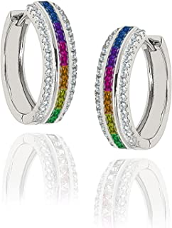 NYC Sterling Cubic Zirconia 15MM Princess Rainbow Hoop Earringss
