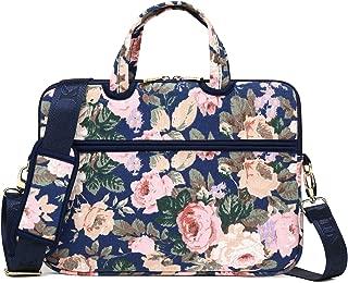 Kayond Laptop Carrying Case Water-Resistant Canvas Totes/Lightweight Slim Shoulder Messenger Bag for Daily Work/School (15-15.6, Camellia)