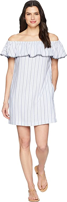Yarn-Dye Ticking Off Shoulder Ruffle Dress Cover-Up