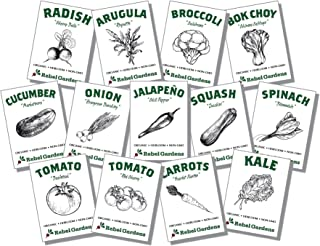 Organic Vegetable Seeds for Planting - 13 Varieties of Non GMO, Non Hybrid, Heirloom Seeds, Open Pollinated Garden Seeds - Tomatoes, Kale, Carrots, Broccoli, Arugula, and More