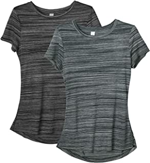 icyzone Workout Shirts for Women - Yoga Tops Gym Clothes Running Exercise Athletic T-Shirts for Women(Pack of 2)