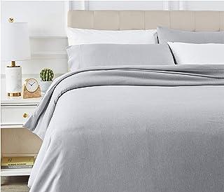 Amazon Basics - Juego de ropa de cama con funda de edredón, de microfibra, 260 x 220 cm, Azul marino claro