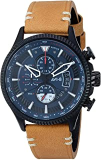 Men's AV-4064 Hawker Hunter Avon Edition Stainless Steel Japanese-Quartz Aviator Watch with Leather Strap