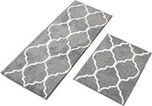 MustMat Kitchen Floor Rug Set Non Slip Rubber Backing Bathroom Area Rug Perfect in Front of Sink (Gray,17