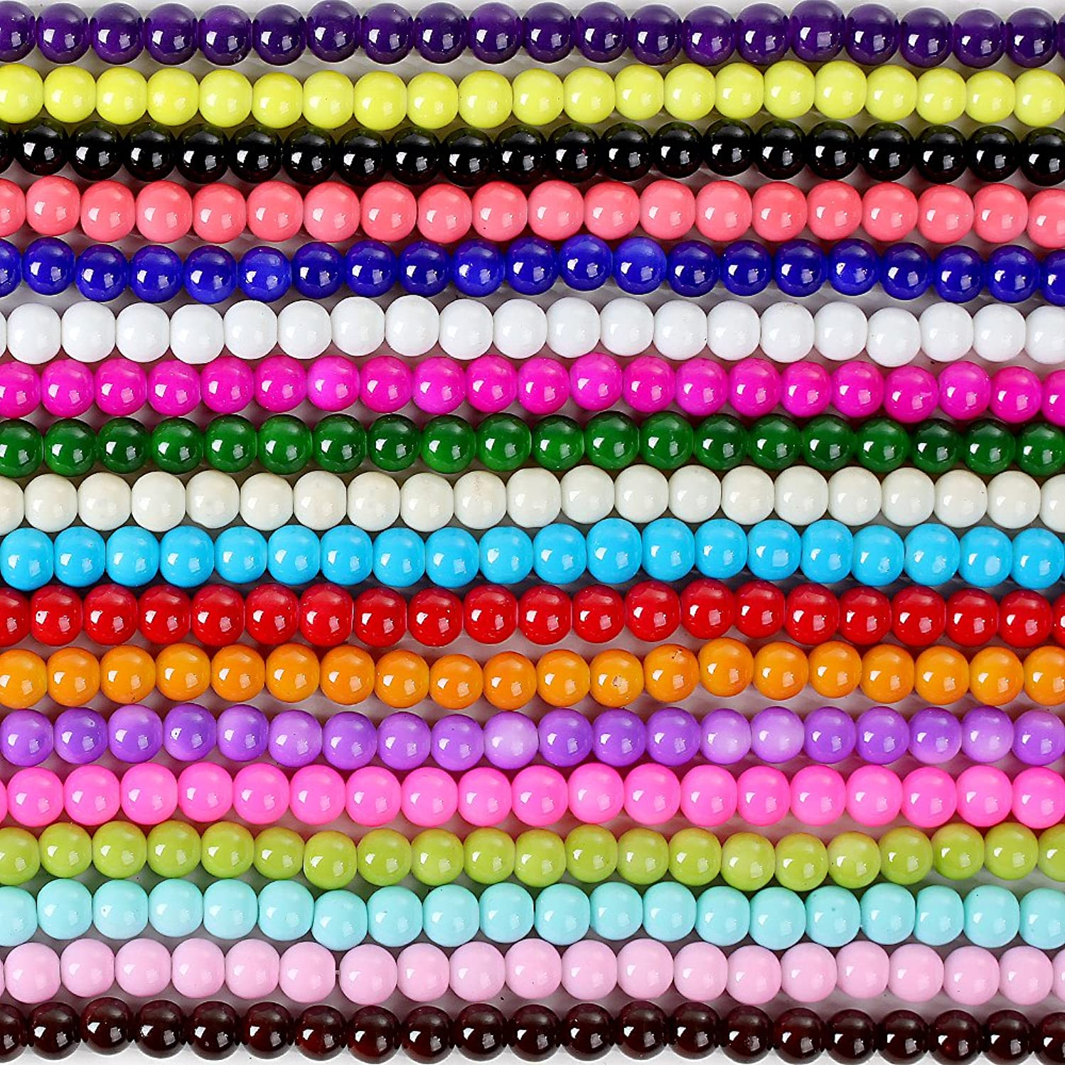 RUBYCA 2 Strings Mix Lot Assorted Round Opaque Coated Loose Glass Beads Jewelry Making Beading 10mm