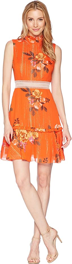 Sleeveless Printed Chiffon Fit and Flare with Waist Faggoting Detail