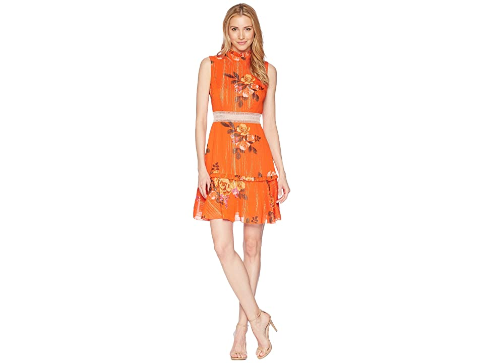 Donna Morgan Sleeveless Printed Chiffon Fit and Flare with Waist Faggoting Detail (Orange/Lavender Multi) Women