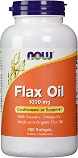 NOW Foods Supplements, Flax Oil 1000 mg Made with Organic Flax Oil, 250 Softgels