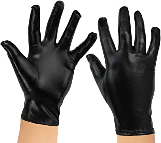 Skeleteen Metallic Black Costume Gloves - Shiny Black Superhero Evening Stretch Dress Glove Set for Men, Women and Kids