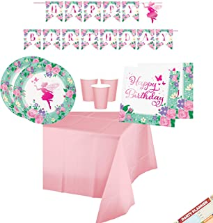 Floral Fairy Theme Birthday Party Supplies Decorations (Banner) Tableware (Plates + Napkins + Cups + Tablecloth) | Foil Stamped | Serves 16