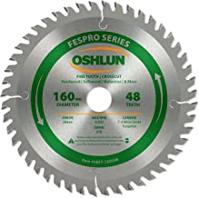 Oshlun SBFT-160048 160mm 48 Tooth FesPro Crosscut ATB Saw Blade with 20mm Arbor for Festool TS 55 EQ, DeWalt DWS520, and M...