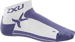 2XU Women's Performance Low Rise Socks, White/Twilight Purple, Medium/Large