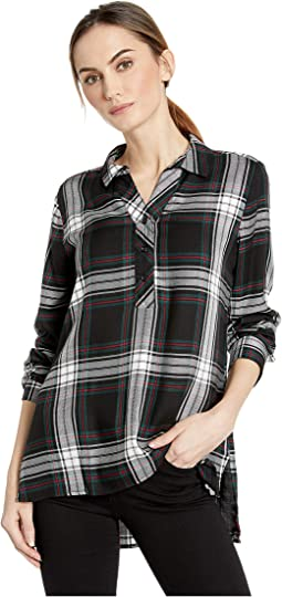 Long Sleeve Neck High-Low Plaid Shirt