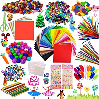 Arts and Crafts,Creative Craft DIY Art Supplies for Kids,Includes Glitter Glue, Pom poms, Pipe Cleaners, Sequins, Felt, Wi...