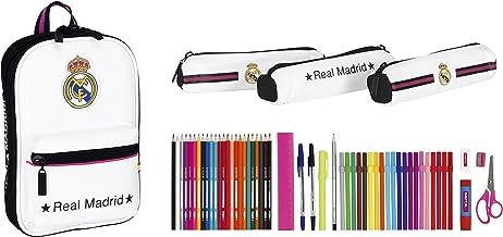 Safta 411457747 Real Madrid-Plumier mochila con 3 estuche portatodos llenos, color r multicolor, 23 cm