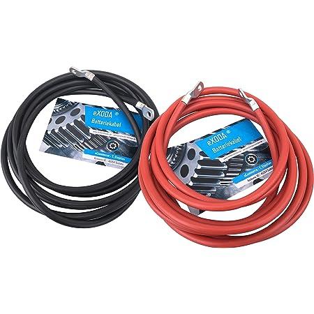 Exoda Batteriekabel Set 35 Mm 200cm Kupfer Stromkabel Mit Ringösen M10 Rot Schwarz Kfz Auto