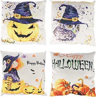 Olgaa 4 Pcs Pillow Covers Cotton and Linen Throw Pillow Cushion Covers for Halloween Thanksgiving Christmas Autumn, 18 x 18 inches, Style 2