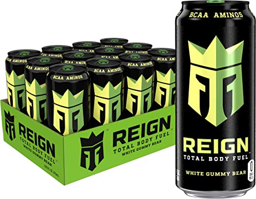 Reign Total Body Fuel, White Gummy Bear, Fitness & Performance Drink, 16 Fl Oz (Pack of 12)