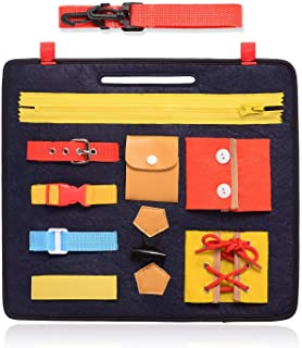 FBve Busy Boards for Toddlers, Montessori Basic Skills Toddler Activity Board for Fine Motor Skills & Learn to Dress - Edu...