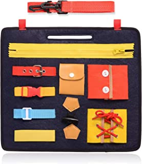 FBve Busy Boards for Toddlers, Montessori Basic Skills Toddler Activity Board for Fine Motor Skills & Learn to Dress - Educational Learning Toys
