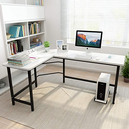 Coleshome L Shaped Desk Corner Computer Desk Pc Laptop Study Table White
